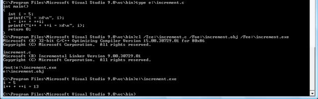 cl.exe благополучно компилирует программу с префиксным и постфиксным инкрементированием
